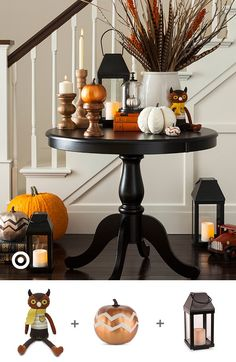 Get into the Halloween spirit with fall decor ideas for the porch & home. Even try some spooky DIYs. Table Halloween, Halloween House, Halloween Decorations, Rustic Halloween, Halloween Party, Harvest Decorations, Seasonal Decor, Table Decorations, Holiday Decor