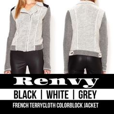 RENVY || Colorblock Jacket A small collared jacket with black, white + grey stitched french terrycloth material + button details. This can be worn both zipped + unzipped! Flattering + fitted! RUNS SMALL (XS-M) Renvy Jackets & Coats