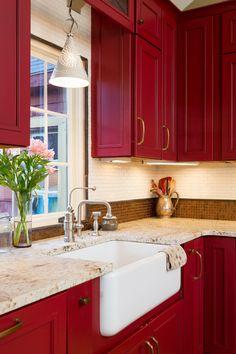 Farmhouse Kitchen by New England Design Elements -- Red kitchen cabinets Kitchen Cabinet Styles, Farmhouse Kitchen Cabinets, Farmhouse Style Kitchen, Kitchen Redo, Kitchen Styling, New Kitchen, White Farmhouse, Kitchen Rustic, Kitchen Cupboard