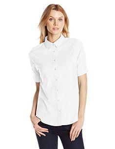 Dockers Women's Short Sleeve Button Down Oxford Shirt, Paper White, X-Small Dockers