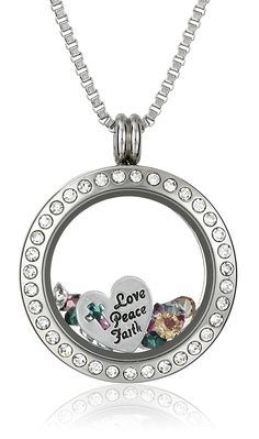 Charmed Lockets Swarovski Crystal 'Love Peace Faith' Charm Locket Necklace *** You can get more details by clicking on the image.
