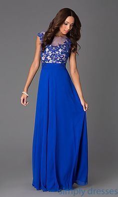 Shop SimplyDresses for illusion prom dresses and cap sleeve long dresses for prom. Floor length cap sleeve dress with illusion bodice.
