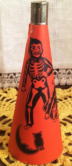 vintage halloween noisemaker horn with foil mouthpiece unmarked bugle toy 1950s works