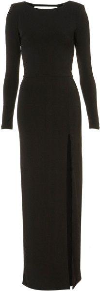 Topshop Black Shoulder Pad Maxi Dress