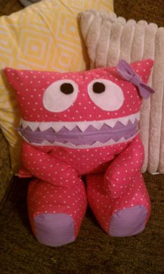 Pink with White Polka Dots Pajama Eater with Purple Bow. $25.00, via Etsy.