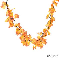 Autumn Leaves Light String. Brilliant polyester leaves accent this string of mini lights, creating a dazzling effect. Hang these fall foliage lights around a ...