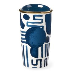 Starbucks Geometric Pattern Double Wall Traveler, 12 fl oz | A double-walled travel mug featuring a geometric pattern with navy and gold accents.