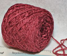 Ruby Red Chenille Wine Color Chenille Yarn by RecycleandRepurpose, $1.80