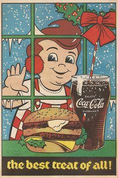"""1980's Bob's Big Boy """"The Best Treat of All"""" Coke Ad, (www.bobs.net) Vintage Labels, Vintage Ads, Vintage Signs, Classic Restaurant, Vintage Restaurant, Big Boy Restaurants, Best Soda, Coke Ad, Nostalgic Pictures"""