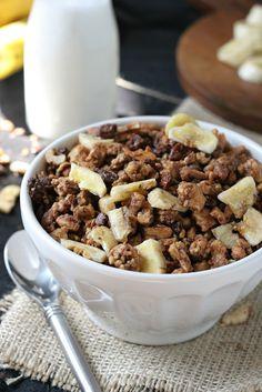 Banana Walnut Grain-Free Granola (Gluten/Dairy Free) Vegan. Fruit Sweetened.