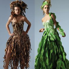 These creations are made by Lia Griffith, a graphic designer and art director. Papier Couture is a beautiful collaboration of fashion, art a. Green Fashion, Fashion Art, Fashion Show, Fashion Design, Fashion Styles, Fancy Dress, Dress Up, Recycled Dress, Recycled Costumes