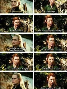 Tauriel speaks words of wisdom to Legolas. He just got served.