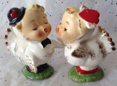 Vintage Napco Love Bird Anthropomorphic Salt & Pepper Shakers Valentine