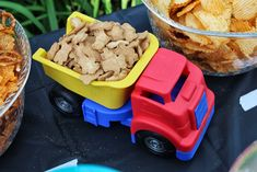 Cars and trucks birthday party Cars Trucks Birthday Party, Dump Truck Party, Birthday Party Venues, 2nd Birthday Parties, Birthday Fun, Car Party, Birthday Ideas, Dump Trucks, Transportation Party