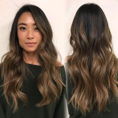 Luscious Balayage With Subtle Purple Tones - 20 Stunning Examples of Mushroom Brown Hair Color - The Trending Hairstyle Brown Ombre Hair, Brown Hair Balayage, Brown Blonde Hair, Light Brown Hair, Brown Hair Colors, Brunette Hair, Hair Highlights, Dark Hair, Asian Ombre Hair