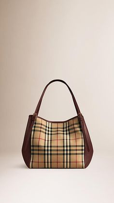 Honey deep claret The Small Canter in Horseferry Check and Leather - Image  1 Purse 046c5b0d47a34