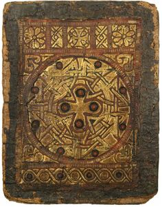 """Considered the finest surviving Coptic binding, #Egypt, 650-750, original contents unknown; binding is """"tooled goatskin over papyrus boards, decorated with onlaid panels of red leather tracery sewn to a gilded leather ground."""""""