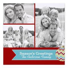 Trendy Chevron Christmas Photo Cards created by Colourful Designs Inc.