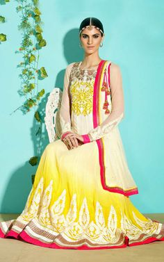 CREAM & YELLOW GEORGETTE ANARKALI SALWAR KAMEEZ - SLF 9653