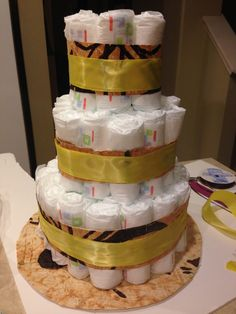 Diaper Cake for Baby Shower..Brown wrap is a tapa cloth–or siapo as it is known in Samoan–is a major art form....