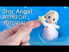 Christmas Tutorial - Polymer Clay Cute Angel with a Star Polymer Clay Ornaments, Polymer Clay Christmas, Polymer Clay Dolls, Polymer Clay Miniatures, Polymer Clay Projects, Clay Crafts, Sculpting Tutorials, Clay Tutorials, Cold Porcelain Tutorial