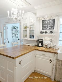 The Country Chic Cottage Coloring Pages Shabby Chic Cottage Kitchen Ideas Kitchen Redo, New Kitchen, Kitchen Remodel, Kitchen Ideas, Kitchen White, Kitchen Chairs, Country Chic Cottage, Country Kitchen, Cottage Style