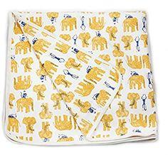 Amazon.com: Viverano Organic Cotton Soft Reversible Baby Blanket. Natural Receiving Blankets (Yellow Elephants & Monkeys): Clothing