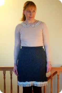 922afcd378 My Superfluities Boden Jewelled Collar Sweater and Anthropologie Tria Skirt