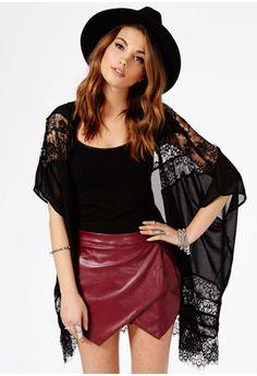 Missguided - Freya Lace Kimono In Black