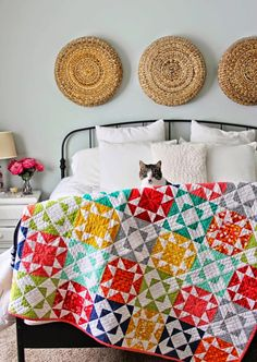 """""""Endless Summer"""" by Melissa Corry. colorful star quilt Variable Star in warm colors with alternate block in cool colors to provide contrast. Happy Quilting"""