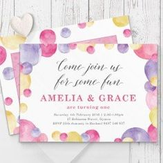 Awesome bright spotty girls birthday invitation with photo create a beautiful personalised birthday invitation for your little girl professionally printed both sides on luxe cardstock australia filmwisefo