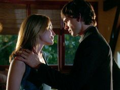 Annie and Auggie right before the kiss