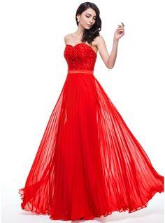 Corte A/Princesa Escote corazón Hasta el suelo Chifón Encaje Vestido de baile de promoción con Plisado