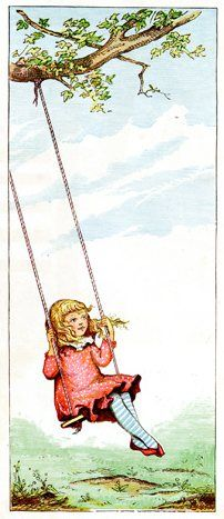 Vintage color drawing of a swinging girl. In her red shoes and dress with striped stockings, she is another charming child drawn by Ida Waugh.