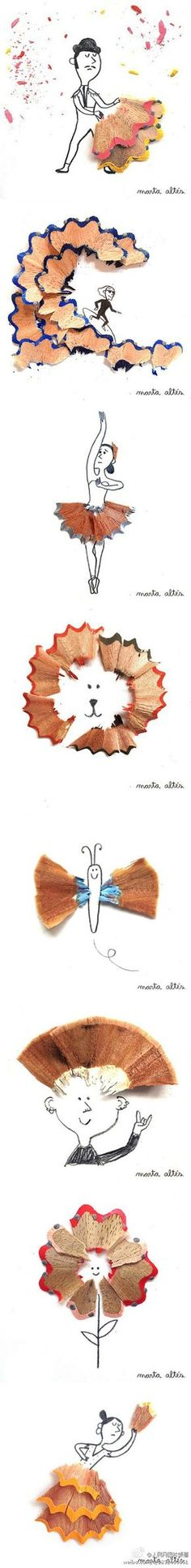 Pencil shavings. This would be fun for the kids to try! More examples on the site.
