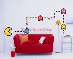 Huge Pacman Retro Decal Removable Wall Sticker Decor Mural Video Game | eBay
