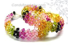 Swarovski bracelet, Luxurious Swarovski Crystal Tourmaline Bracelet by CandyBead - You Choose Color