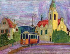 'Narrow gauge historical tram with church' by Lorenzo-CZ Canvas Prints, Framed Prints, Art Prints, Gauges, Art Boards, Colored Pencils, Travel Mug, Wall Art, Artist