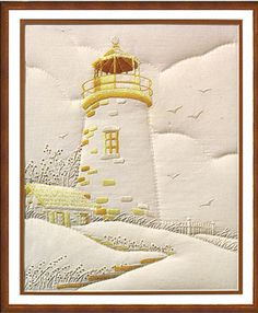 At the Shore Lighthouse, Candlewicking Embroidery