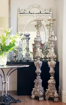 Amazing antique silver gilded church candlesticks for the wow factor