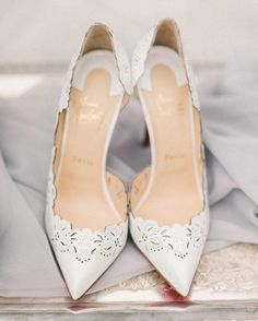 White Christian Louboutins with lace detail // Bridal shoe inspiration (Photography: Elizabeth Fogarty)
