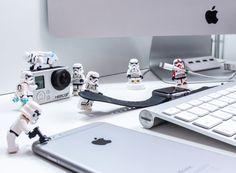 Lego, stormtrooper, iPhone, iMac, iWatch, workspace