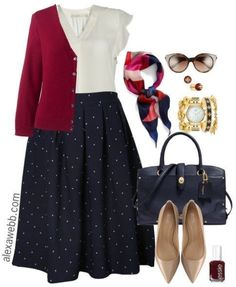 Plus Size Navy Dot Skirt Outfits - Plus Size Fall Work Outfit Ideas - Plus Size . - Plus Size Navy Dot Skirt Outfits – Plus Size Fall Work Outfit Ideas – Plus Size Fashion for Wom - Plus Size Fashion For Women, Black Women Fashion, Look Fashion, Plus Size Women, Fashion Outfits, Womens Fashion, Fashion Trends, Fashion Ideas, Navy Outfits
