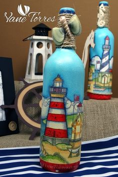 Painted Glass Bottles, Glass Bottle Crafts, Diy Bottle, Painted Wine Glasses, Bottles And Jars, Bottle Art, Decorated Bottles, Clock Painting, Bottle Painting