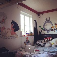 I like the Totoro painting Studio Ghibli Art, Studio Ghibli Movies, Room Ideas Bedroom, Bedroom Decor, Geek Bedroom, New Swedish Design, Kawaii Bedroom, Aesthetic Room Decor, Dream Rooms
