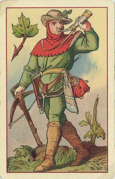 Old German playing cards, Jack of Leaves.