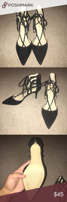 "Marc Fisher Black Suede 2 1/2"" inch heels These sleek black suede heels with gold tassels, that have never been worn. Laces up around the ankle, and can be tied in the front or back. Extremely comfortable. They were too big, and lost the receipt to return. Marc Fisher Shoes Heels"