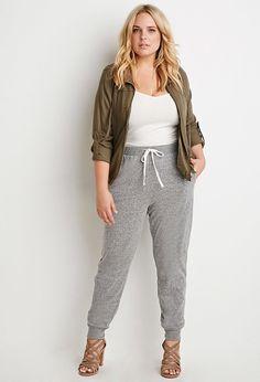 3d57ff6e9abda Plus Size Marled Drawstring Sweatpants Plus Size Outfits