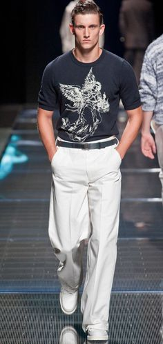 """Louis Vuitton  """"Voluminous"""" pants nice alternative to baggy cholo Dickies. Nice belt matched to tee and not to shoes."""