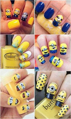 Despicable Me Minions Nail Art Designs - Yellow and Blue Nails